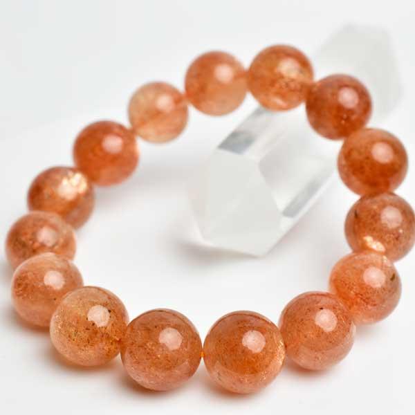 サンストーン AAA ブレスレット【約14mm×15珠】【インド産】|サンストーン|ブレスレット|日長石|天然石|パワーストーン|