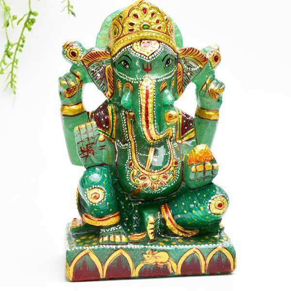 ガネーシャ 置物 【インディアン アベンチュリン】【約1067.5g】天然石|グリーン アベンチュリン|ガネーシャ|彫刻置物|商売繁盛|魔除け|守り神|