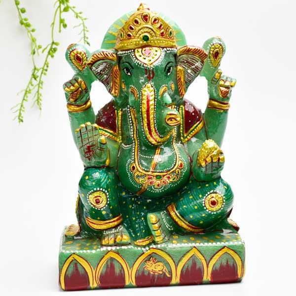 ガネーシャ 置物 【インディアンアベンチュリン】【約1500g】天然石|グリーン アベンチュリン|ガネーシャ|彫刻置物|商売繁盛|魔除け|守り神