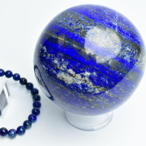 ラピスラズリ 丸玉 スフィア ブレスレット付き【約80.4mm珠】【約826g】【台座付】アフガニスタン産|パワーストーン|ラピスラズリ|原石|丸玉|スフィア|青金石|