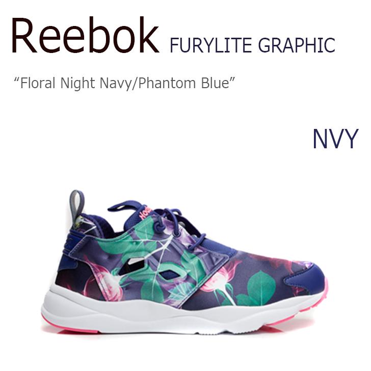 Reebok リーボック FURYLITE フューリーライト 上品 Floral Night Navy Phantom 未使用品 GRAPHIC AQ9837 海外直輸入USED品 新作続 Blue シューズ 中古