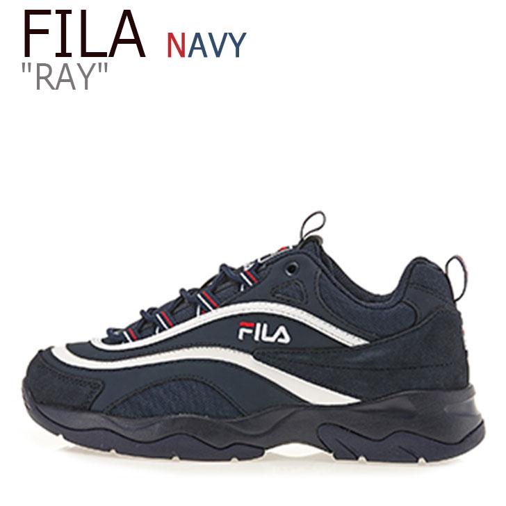 フィラ スニーカー 激安セール fila ray Ray フィラレイ filaray navy 直営ストア 紺 海外直輸入USED品 レイ FS1SIA3112X メンズ 中古 ネイビー RAY FILA シューズ NAVY レディース 未使用品