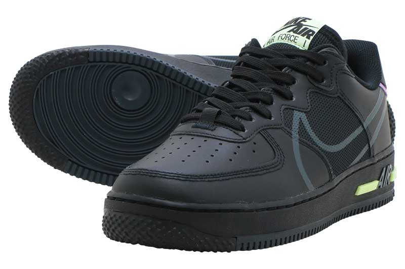 NIKE AIR FORCE 1 REACTナイキ エア フォース 1 リアクトBLACK/VIOLET STAR-BARELY VOLT-ANTHRACITE