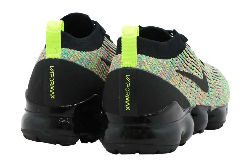 nike women's air vapormax flyknit 3 shoes black/volt/blue lagoon