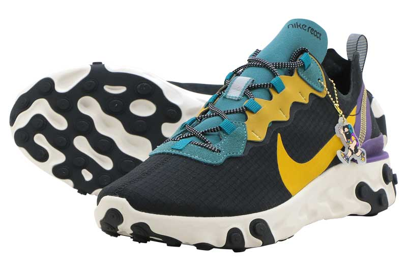 NIKE REACT ELEMENT 55 PRMナイキ リアクト エレメント 55 プレミアムBLACK/MINERAL TEAL-VOLTAGE PURPLE-POLLEN RISE