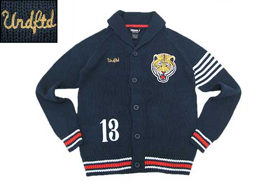 【FINAL SALE】UNDEFEATED VERSITY TIGER CARDIGANバーシティータイガーカーディガンNAVY