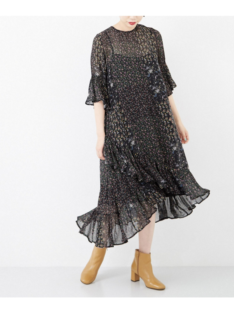 [Rakuten BRAND AVENUE]ne Quittez pas GEORGETTE FLOWER HEM CROSS DRESS URBAN RESEARCH アーバンリサーチ ワンピース【送料無料】