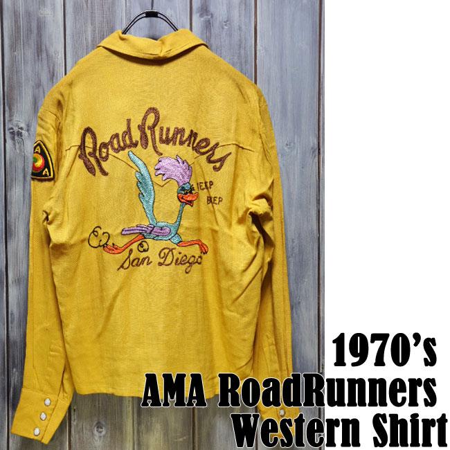 【ajito】1970's AMA RoadRunners Western Shirts ビンテージ ロードランナー ウエスタンシャツ Happyend ハッピーエンド ヴィンテージ バイク オールド アメリカン