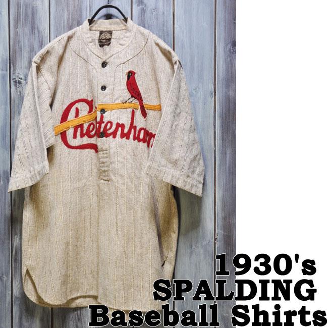 【ajito】1930's SPALDING BB Shirts ビンテージ スポルディング ベースボールシャツ Happyend ハッピーエンド ヴィンテージ バイク オールド アメリカン