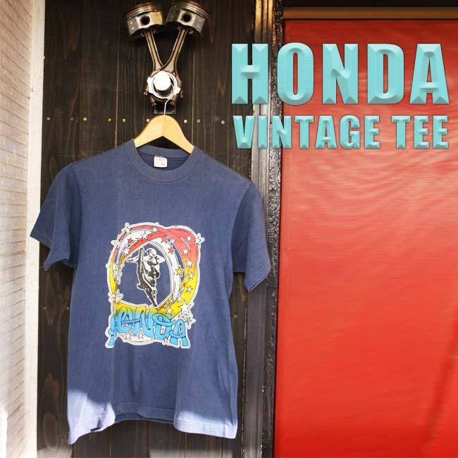 ajito HONDA Motorcycle TEE VINTAGE ホンダ ロゴ モトクロス モーターサイクル ヴィンテージ Tシャツ バイカー ファッション ビンテージ 半袖 ネイビー 紺 アメリカン 古着 レア XLサイズ メンズ レディース HAPPYEND