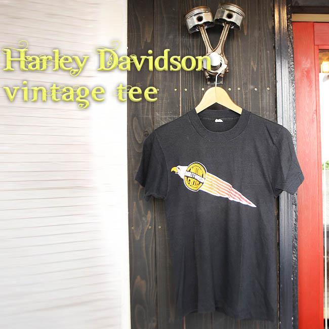 ajito HARLEY DAVIDSON VINTAGE TEE ハーレー ダヴィッドソン ロゴ ヴィンテージ イーグル Tシャツ バイカー ファッション ビンテージ 半袖 MOTORCYCLE モーターサイクル アメリカン 古着 レア Sサイズ メンズ ブラック 黒 HAPPYEND バイク ハーレーダビッドソン