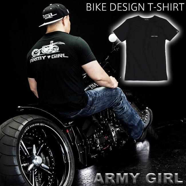 ARMY GIRL NO 008 BIKE DESIGN T-SHIRT アーミーガール ロゴ バイク デザイン Tシャツ メンズ レディース ブラック ホワイト スカル ユニセックス カーファッション ポルシェ PORSCHE レースクイーン カー アパレル ハイクオリティ メイドインジャパン MADE IN JAPAN