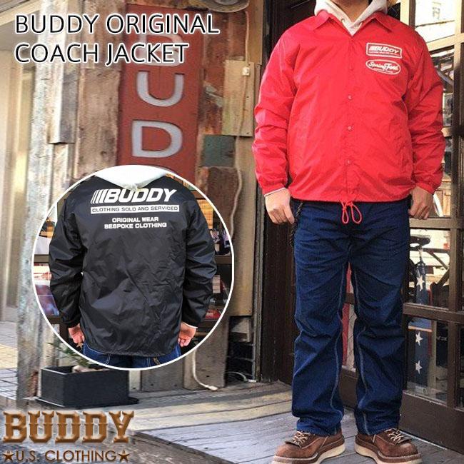 BUDDY オリジナル 裏ボア ナイロン コーチジャケット ウィンドブレーカー アウター ブラック レッド バックプリント ブルゾン アメカジ 原宿 ストリート ファッション 70's メンズ バディ XL 春