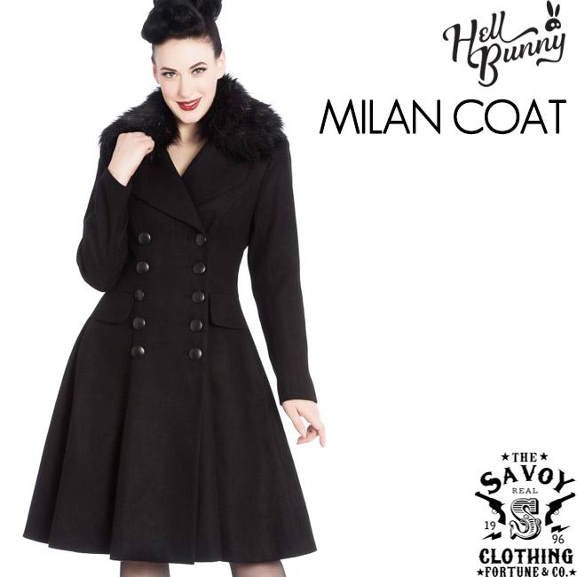 SAVOY CLOTHING HELL BUNNY MILAN Coat ファー付き フレア ドレス コート ヘルバニー ブラック アウター レディース ロカビリー ファッション 50's サボイクロージング イギリス ロンドン サヴォイクロージング インポート 黒