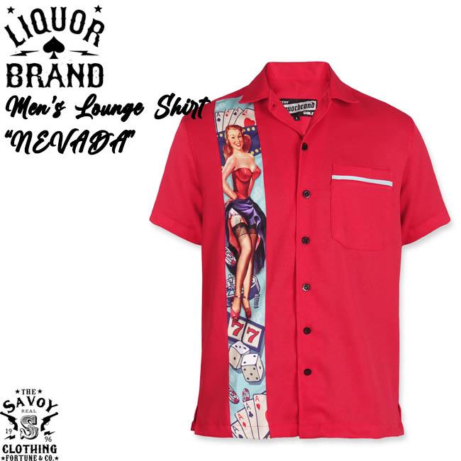 SAVOY CLOTHING LIQOR BRAND MEN'S SHIRTS NEVADA サヴォイクロージング リカーブランド メンズ ラウンジシャツ ネバダ タトゥーガール オープン シャツ レッド 半袖 50'S ロカビリー ファッション サボイクロージング トランプ ギャンブル XL