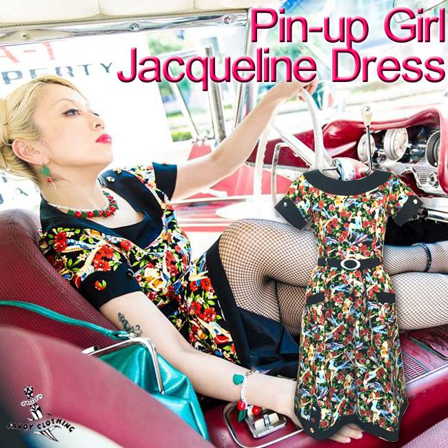 SAVOY CLOTHING サヴォイクロージング Pin-upGirl Jacqueline Dress ピンナップガール ジャクリーン ワンピース ロック ロカビリー パンク オードリーヘップバーン クラシック ビンテージ クラシカル ファッション 原宿 サボイクロージング ワンピ ドレス