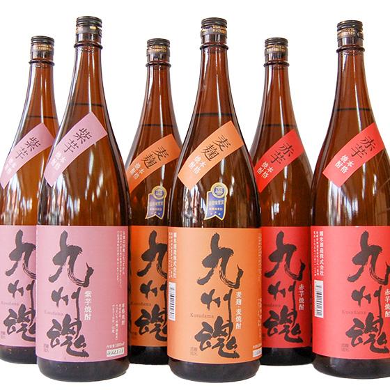 九州魂焼酎のみくらべ 1800ML/6本 麦・赤芋・紫芋各2 業務用