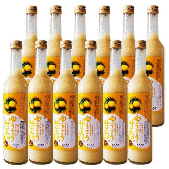 ゆうこう甘酒500ml/12本無添加 米麹甘酒 糖類無添加 香り高い柑橘-ゆうこうの果汁入り ノンアルコール