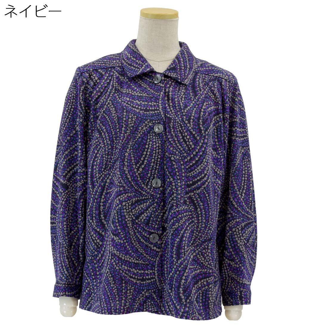 婦人 ストレッチ 毛混 ニット ななめ穴 大きめボタン ブラウス 日本製●婦人 シニアファッション 秋冬 70代 80代 90代