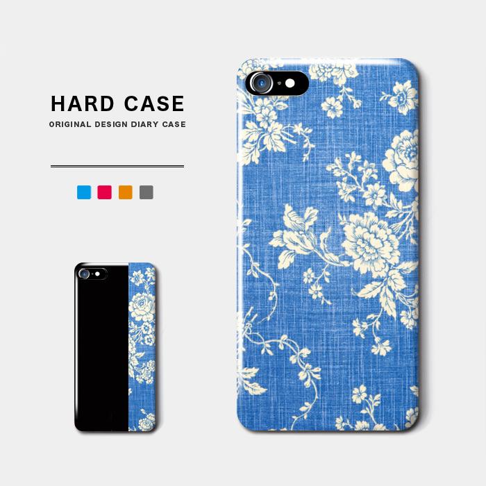 デニムローズ スマホケース ハードケース 爽やかなアンティーク感 iPhone8 Android アンドロイド スマホ 名入れ 結婚祝い 薔薇 バラ ジーンズ 日本正規代理店品 シャレ オーダーメイド 花柄 バイカラー