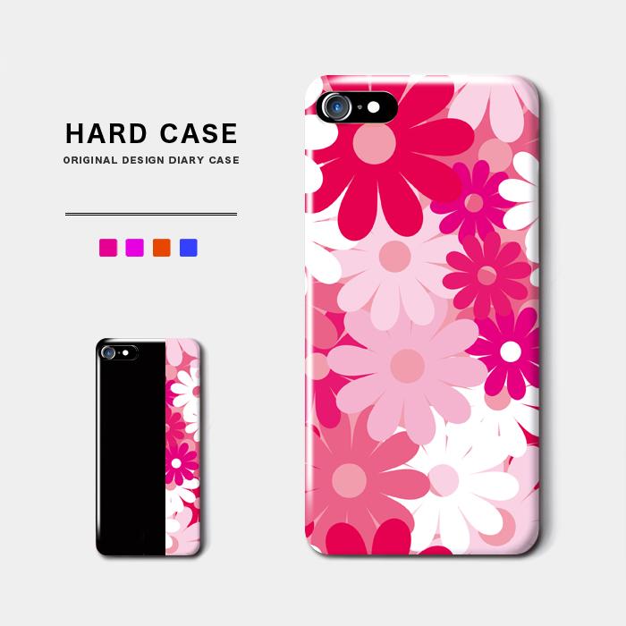 レトロポップフラワー スマホケース ハードケース レトロなポップの花柄デザイン iPhone8 Android アンドロイド スマホ バイカラー レトロ 花柄 フラワー オシャレ iPhoneX 名入れ クラシック 完全送料無料 ポップ ギフト オーダーメイド