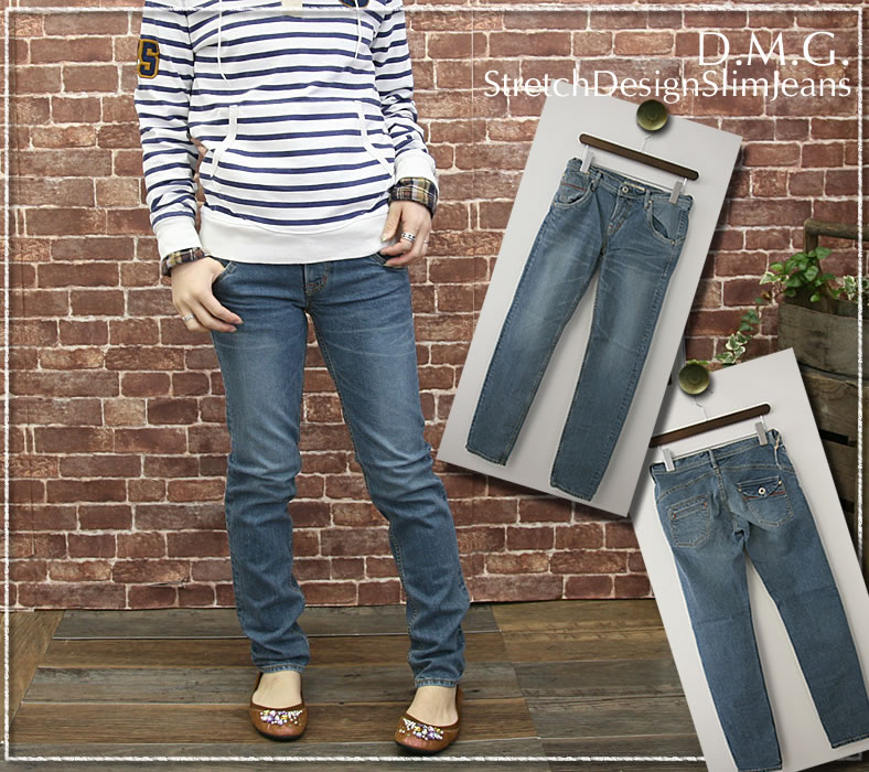 Domingo DMG(D.M.G) stretch denim asymmetric back design tapered slim jeans denim pants and skinny pants and タイトストレート and 13-641 c sale /SALE / ladies/boots / limited duration / low-price