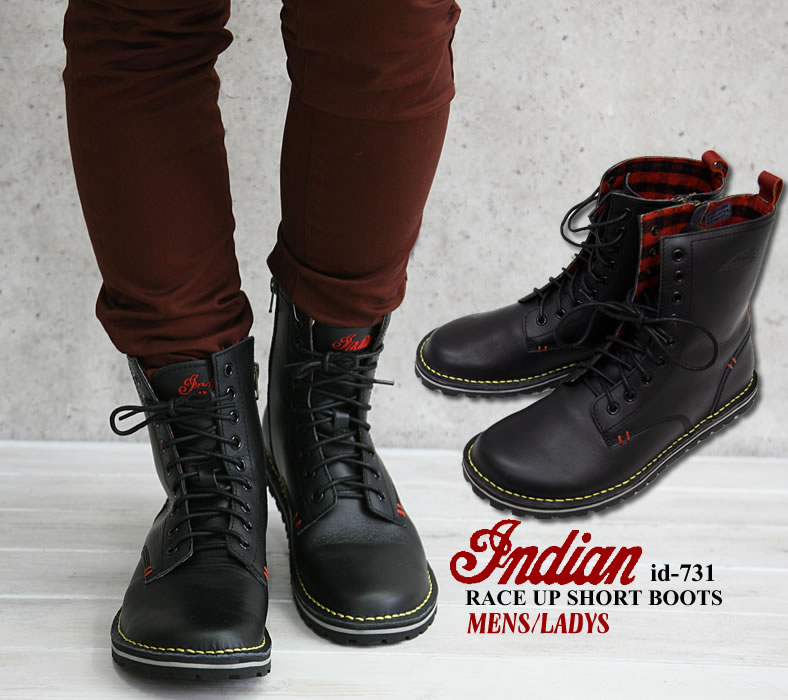 Indian Motocycle (インディアンモト cycle) rubber sole lace-up booties ( shoes / shoe /id-731 ) sale /SALE / men's / women's / Rakuten ranking Prize / leather / Black / Black / Rakuten