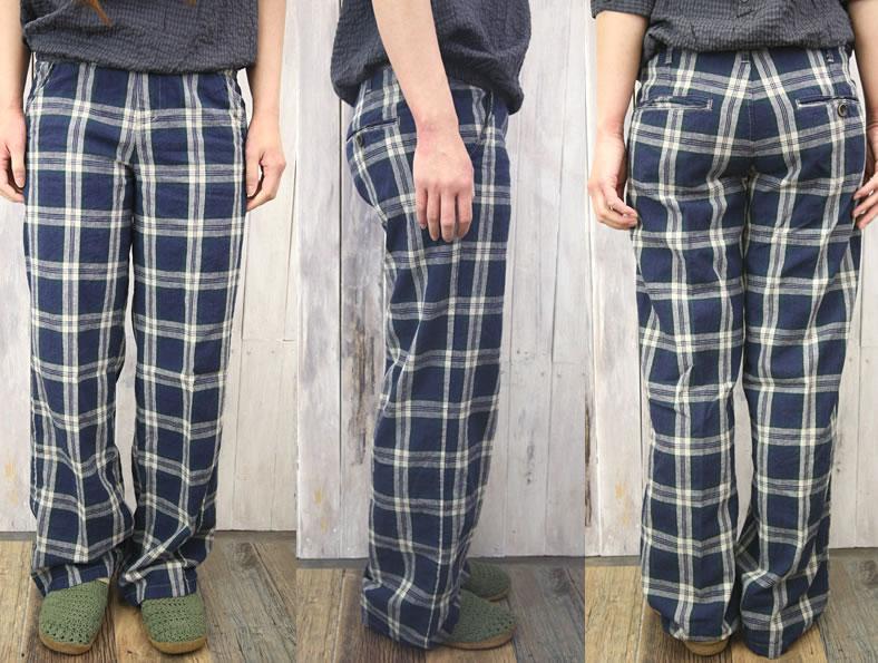 JOHNBULL ( jumble ) cotton hemp yarn-dyed リネンブラックウォッチチェックルーズストレートトラウザー pants ( slender pants /AP045 ) ladies / / Japan-/ little loose / spring / summer / bottom / long pants / roll-up / Rakuten