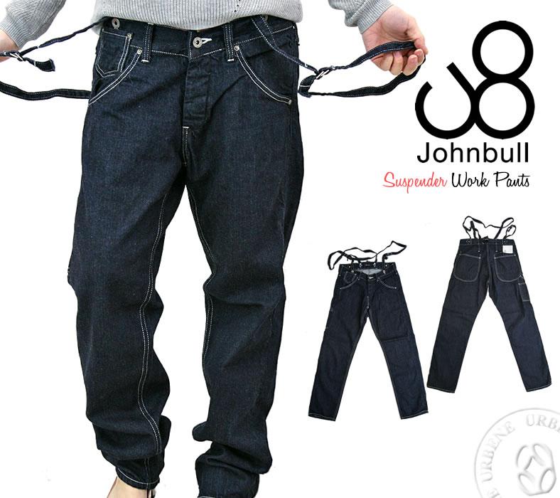 定番 / ジョンブル レディース Johnbull サスペンダージーンズ ワンウォッシュ ライトオンス セルヴィッチデニム ルーズ ワーク デニムパンツ (AP538-11) ボトムス ストレートジーンズ 送料無料 John bull