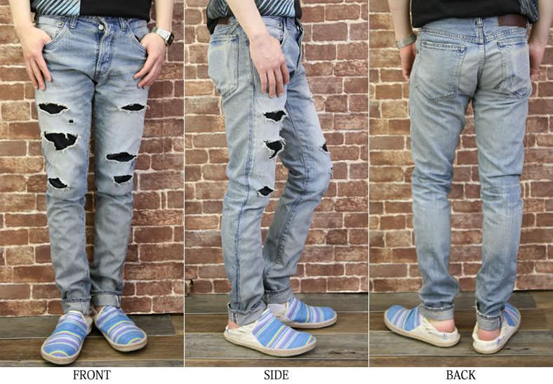 JOHNBULL( John Bull) light ounce denim / bleach color / Fine jeans / men / remake / slim / damage processing / jeans / jeans /JEANS/ bottoms / Rakuten /fs3gm/10P10Nov13