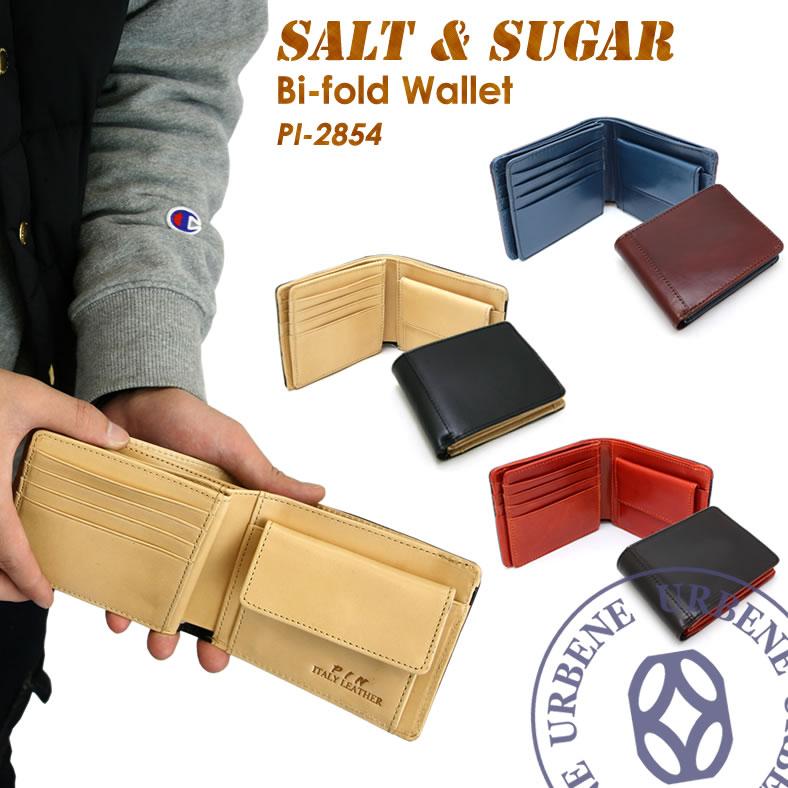 ソルト&シュガー salt&sugar PIN ピン リアルレザー 2つ折りウォレット (pi-2854) 二つ折り財布 小銭入れあり 送料無料 革財布 メンズ レディース 本革 小物 ブランド雑貨 財布 ケース メンズ財布