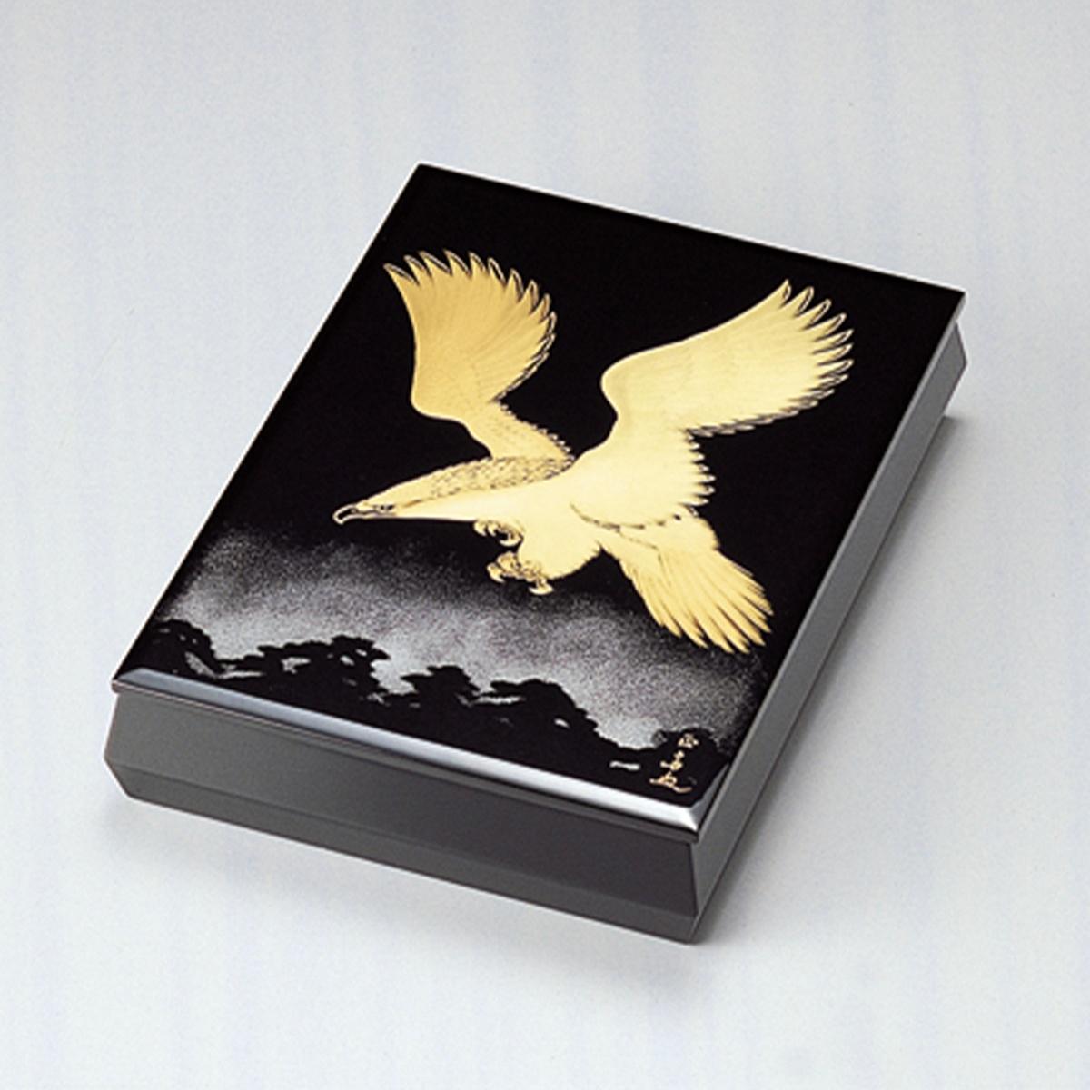 松に鷹 文庫 A4サイズ(黒)宮内庁御用達 文庫 手箱 日本製 来客 器 漆器 手塗 高級 おすすめ 木 木製 箱 ボックス 就職祝い 昇進祝い 合格祝い ギフト 小物入れ プレゼント 伝統工芸士