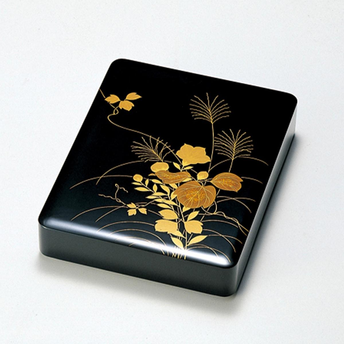 【ポイント 3倍中!更にクーポン】秋草 硯箱(黒)宮内庁御用達 日本製 来客 うるし 艶 上品 器 漆器 手塗 高級 おすすめ 木 木製 箱 ボックス 就職祝い 昇進祝い 合格祝い ギフト 硯箱 磨き蒔絵