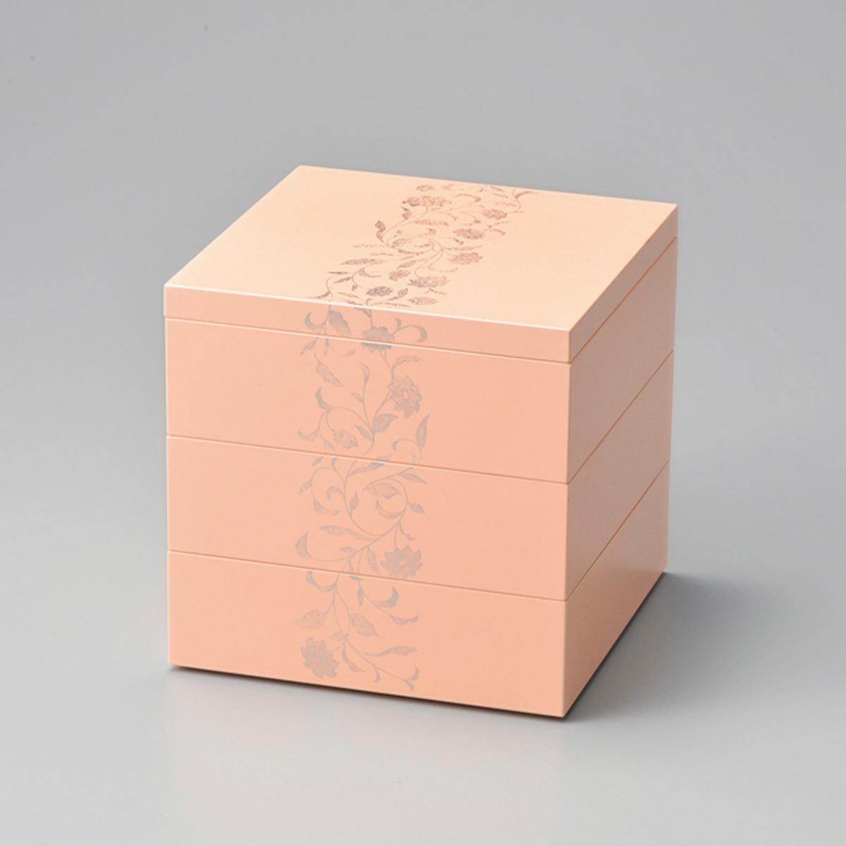 【ポイント 3倍中!更にクーポン】アールデコ 5.5寸三段重(ピンク)宮内庁御用達 重箱 日本製 来客 艶 上品 器 漆器 木合 高級 おすすめ おもてなし 正月 元旦 迎春 おせち パーティー 運動会 ピクニック お花見 かわいい