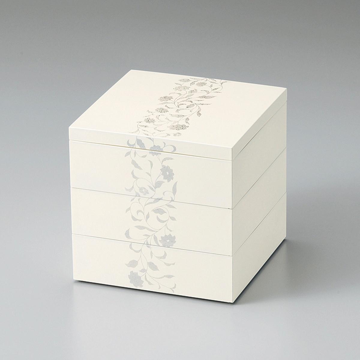 【ポイント 3倍中!更にクーポン】アールデコ 5.5寸三段重(ホワイト)宮内庁御用達 重箱 日本製 来客 越前漆器 艶 上品 器 漆器 木合 高級 おすすめ おもてなし 正月 元旦 迎春 おせち パーティー 運動会 ピクニック お花見 かわいい