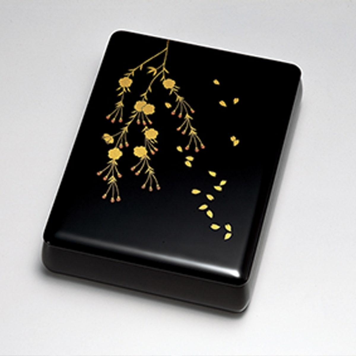 送料無料 しだれ桜花 文筥 文庫 手箱 日本製 来客 艶 上品 器 漆器 高級 おすすめ 木 木製 箱 ボックス 就職祝い 昇進祝い 合格祝い ギフト プレゼント 越前塗