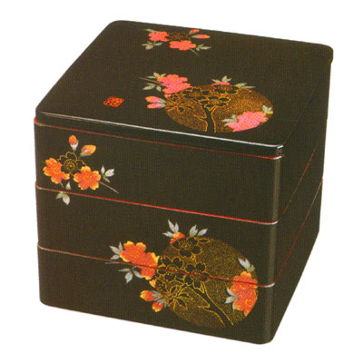 【送料無料】【名入れ無料 漆器】7寸 三段重箱 黒塗り内朱 おぼろ月