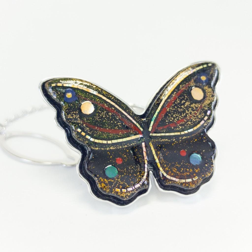 天然漆の蝶モチーフ・タイニーピン