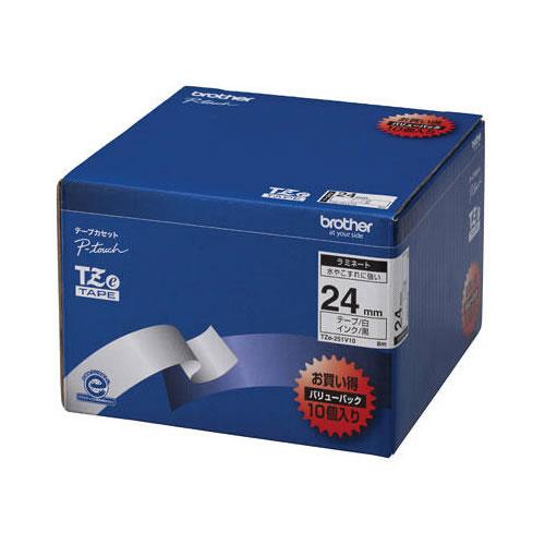 【キャッシュレス5%還元】CR-09840 ブラザー ラベル用ラミネートテープ 24mm 10個パック 白 TZE-251V10【/srm】
