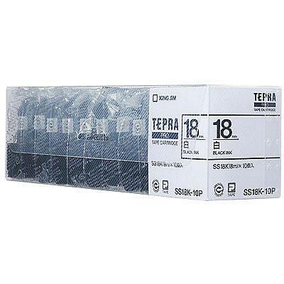 【キャッシュレス5%還元】CR-73232 キングジム テプラ PRO用テープカートリッジ 白ラベル 18mm幅 10個パック SS18K-10P【/srm】