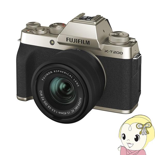 [予約]【キャッシュレス5%還元】FUJIFILM ミラーレス 一眼カメラ X-T200 レンズキット [シャンパンゴールド]【/srm】