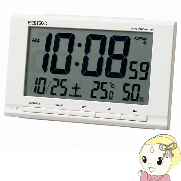 信頼の創業昭和39年 激安家電の老舗 セイコー 電波時計 送料無料でお届けします ギフ_包装 温度湿度表示付 SQ789W