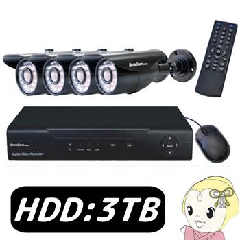 【キャッシュレス5%還元】[屋外設置可] SMACOMBOv5-3TB テック AHD3.6カメラ4台と録画機のセット (HDD3TB)【/srm】