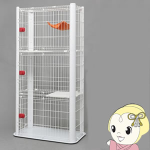 【メーカー直送】 アイリスオーヤマ ペット用スリムケージ3段 ホワイト P-CSC-903-W【/srm】