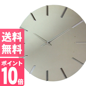 ◎アクトレスクロック V-0056 シルバー[直径40センチ シルバー 掛け時計 時計 クロック ミラー 大きい 丸形 日本製 ウォールクロック リビング雑貨 インテリア 室内 掛時計]