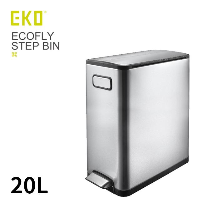 ◎EKO エコフライ ステップビン 20L[フタ付のステンレスのゴミ箱 両開き(バタフライ)の蓋のダストボックス ペダル付きで使いやすい 角型の屋内用ごみ箱 おしゃれなステンレス製]