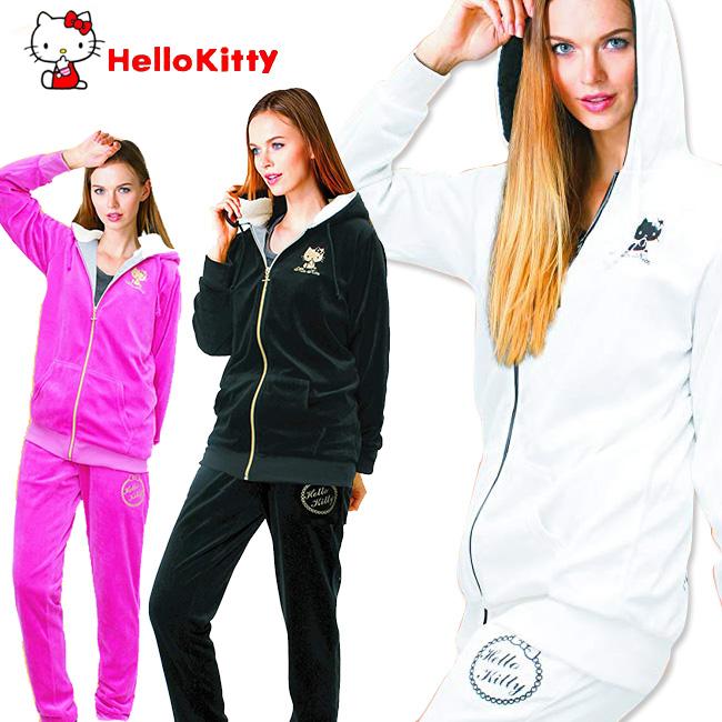 ◎HelloKitty ハローキティ サウナスウェット[保温&発汗 サウナスウェットで日常生活をフィットネスに 胸元のハロー キティの刺繍がかわいくておしゃれ 大きめのLLサイズまで対応 レディース]