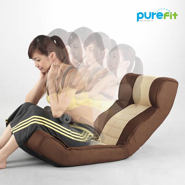 ◎purefit ピュアフィット 腹筋らくらく座椅子 PF2000[ヘッドレストと背もたれと足当てがリクライニングする座いす 腹筋が簡単にできるエクササイズ ストレッチ座イス]