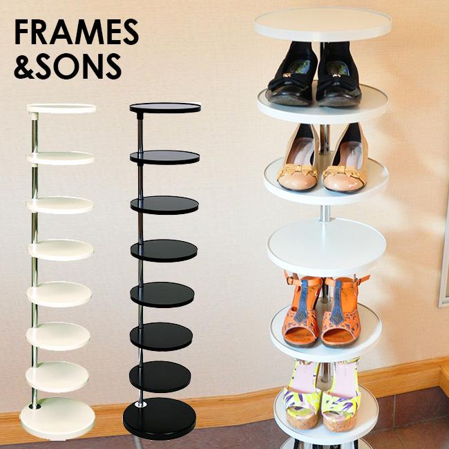 ◎FRAMES&SONS SALA サラ 可動式シューズラック 8 AD25[国産(日本製)のシンプルでスタイリッシュなデザインのスチール製の靴置き 足立製作所の収納家具・スチール家具] メーカー直送