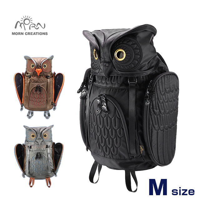 ◎MORN CREATIONS ミミズクバックパックMサイズ OW-112[ふくろう好きにはたまらない ふくろうグッズ・雑貨 フクロウのかわいい鞄 おしゃれなリュック ふくろうのリュックサック]